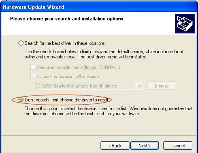 Driver Installation Troubleshooter - Step 4