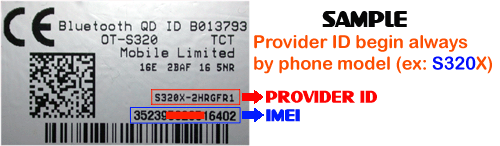 How to get provider id from alcatel mobile phone