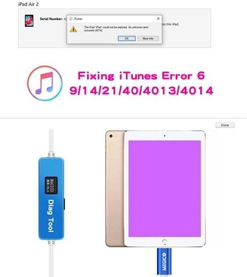 Magico diag tool for fixing iTunes error 6 9 14 21 40 4013 4014