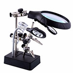 HELPING HAND STATION WITH 5-LED LIGHT AND MAGNIFYING GLASS